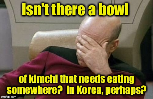 Captain Picard Facepalm Meme | Isn't there a bowl of kimchi that needs eating somewhere?  In Korea, perhaps? | image tagged in memes,captain picard facepalm | made w/ Imgflip meme maker