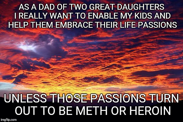 Embracing life...in whatever form. | AS A DAD OF TWO GREAT DAUGHTERS I REALLY WANT TO ENABLE MY KIDS AND HELP THEM EMBRACE THEIR LIFE PASSIONS UNLESS THOSE PASSIONS TURN OUT TO  | image tagged in being a parent | made w/ Imgflip meme maker