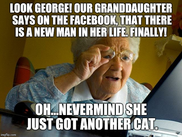 Grandma Finds The Internet Meme | LOOK GEORGE! OUR GRANDDAUGHTER SAYS ON THE FACEBOOK, THAT THERE IS A NEW MAN IN HER LIFE. FINALLY! OH...NEVERMIND SHE JUST GOT ANOTHER CAT. | image tagged in memes,grandma finds the internet | made w/ Imgflip meme maker