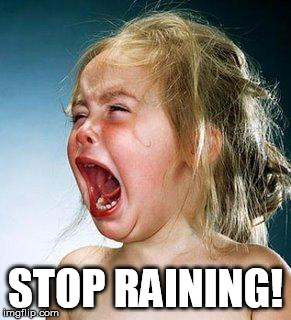 crying girl | STOP RAINING! | image tagged in crying girl | made w/ Imgflip meme maker