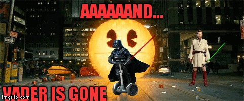 That is not part of the Darkside! | AAAAAAND... VADER IS GONE | image tagged in darth vader,obi wan kenobi,pacman,segway,funny | made w/ Imgflip meme maker