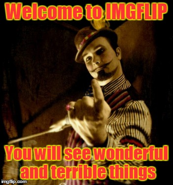 Welcome to IMGFLIP You will see wonderful and terrible things | made w/ Imgflip meme maker