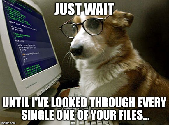 corgi hacker | JUST WAIT UNTIL I'VE LOOKED THROUGH EVERY SINGLE ONE OF YOUR FILES... | image tagged in corgi hacker | made w/ Imgflip meme maker