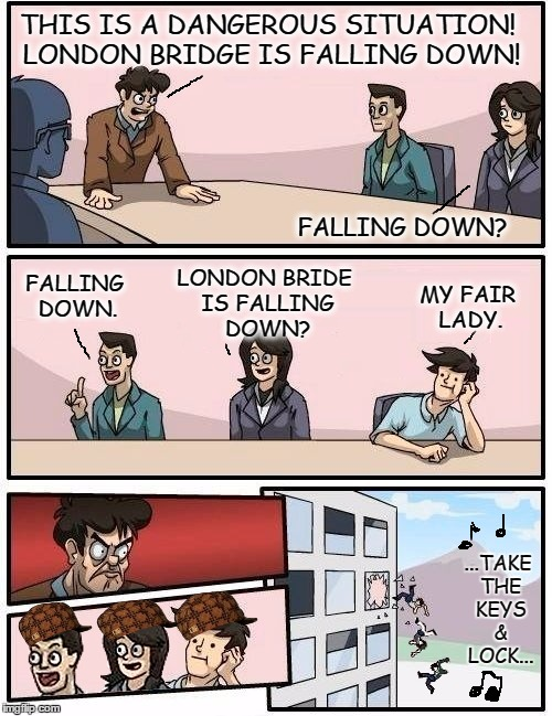 Boardroom meeting | THIS IS A DANGEROUS SITUATION! LONDON BRIDGE IS FALLING DOWN! FALLING DOWN? FALLING DOWN. LONDON BRIDE IS FALLING DOWN? MY FAIR LADY. ...TAK | image tagged in we all go out the window boardroom meeting suggestion,scumbag,london bridge,falling down,meme | made w/ Imgflip meme maker