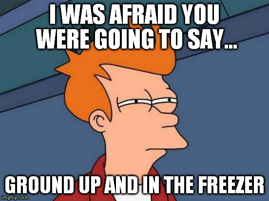 Futurama Fry Meme | I WAS AFRAID YOU WERE GOING TO SAY... GROUND UP AND IN THE FREEZER | image tagged in memes,futurama fry | made w/ Imgflip meme maker