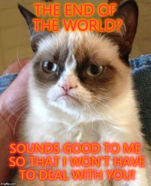 Grumpy cat likes the idea of the end of the world. | THE END OF THE WORLD? SOUNDS GOOD TO ME SO THAT I WON'T HAVE TO DEAL WITH YOU! | image tagged in memes,grumpy cat,end of the world | made w/ Imgflip meme maker