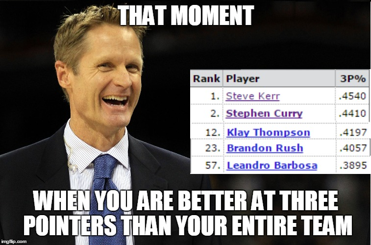 Steve Kerr has burned the Curry, but it still tastes better than Klay. | THAT MOMENT WHEN YOU ARE BETTER AT THREE POINTERS THAN YOUR ENTIRE TEAM | image tagged in ouch | made w/ Imgflip meme maker