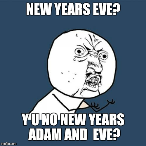 Y U No Meme | NEW YEARS EVE? Y U NO NEW YEARS ADAM AND  EVE? | image tagged in memes,y u no | made w/ Imgflip meme maker