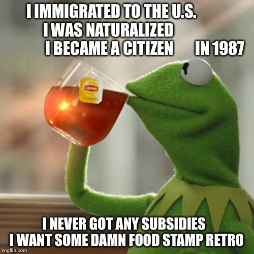 Not A U.S. Citizen    Step Right Up   Get Your Government Free Check    Now | I IMMIGRATED TO THE U.S.               I WAS NATURALIZED                             I BECAME A CITIZEN       IN 1987 I NEVER GOT ANY SUBSID | image tagged in memes,kermit the frog,immigration,food stamps,illegal immigration,syrian refugees | made w/ Imgflip meme maker