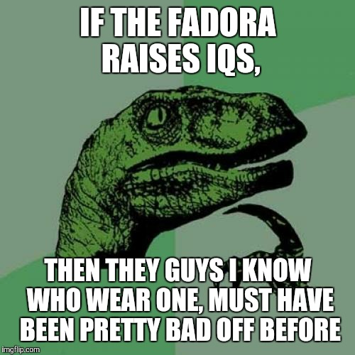 Philosoraptor Meme | IF THE FADORA RAISES IQS, THEN THEY GUYS I KNOW WHO WEAR ONE, MUST HAVE BEEN PRETTY BAD OFF BEFORE | image tagged in memes,philosoraptor | made w/ Imgflip meme maker