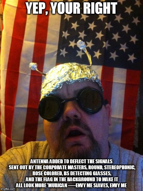 Image tagged in mountain man tin foil hat - Imgflip