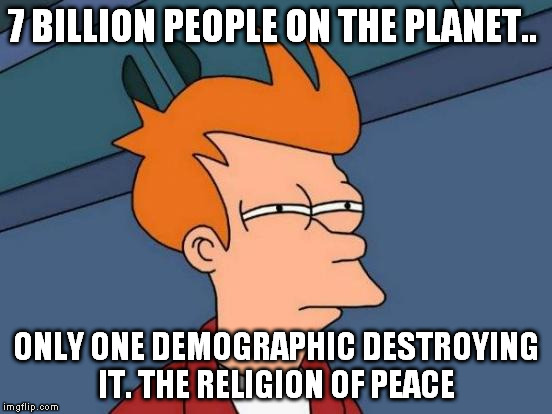 Futurama Fry Meme | 7 BILLION PEOPLE ON THE PLANET.. ONLY ONE DEMOGRAPHIC DESTROYING IT. THE RELIGION OF PEACE | image tagged in memes,futurama fry | made w/ Imgflip meme maker