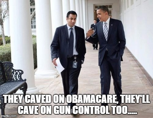 Barack And Kumar 2013 | THEY CAVED ON OBAMACARE, THEY'LL CAVE ON GUN CONTROL TOO..... | image tagged in memes,barack and kumar 2013 | made w/ Imgflip meme maker