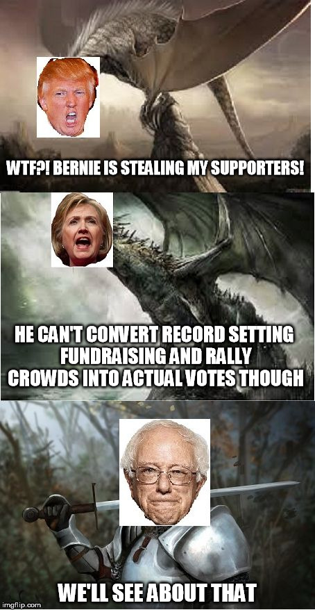 wonec the donald is feeling the bern imgflip