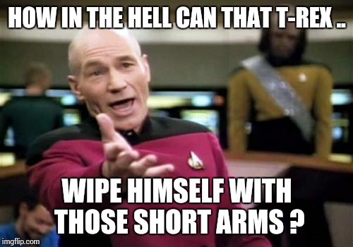 Picard Wtf Meme | HOW IN THE HELL CAN THAT T-REX .. WIPE HIMSELF WITH THOSE SHORT ARMS ? | image tagged in memes,picard wtf | made w/ Imgflip meme maker