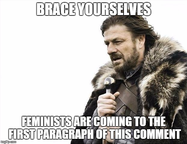 Brace Yourselves X is Coming Meme | BRACE YOURSELVES FEMINISTS ARE COMING TO THE FIRST PARAGRAPH OF THIS COMMENT | image tagged in memes,brace yourselves x is coming | made w/ Imgflip meme maker