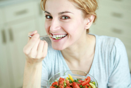 Happy Woman Eating Salad Meme Template