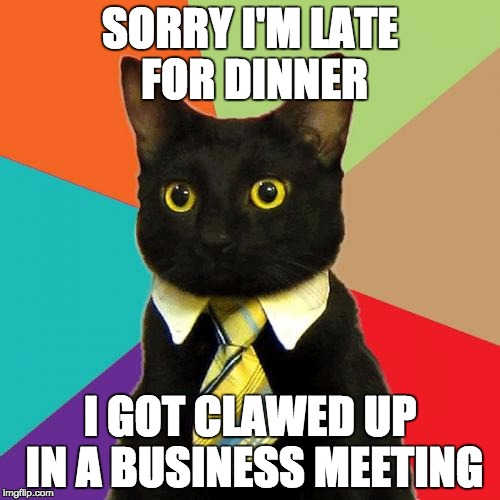 Business Cat Meme | SORRY I'M LATE FOR DINNER I GOT CLAWED UP IN A BUSINESS MEETING | image tagged in memes,business cat | made w/ Imgflip meme maker