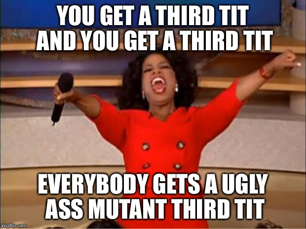 Oprah You Get A Meme | YOU GET A THIRD TIT AND YOU GET A THIRD TIT EVERYBODY GETS A UGLY ASS MUTANT THIRD TIT | image tagged in memes,oprah you get a | made w/ Imgflip meme maker
