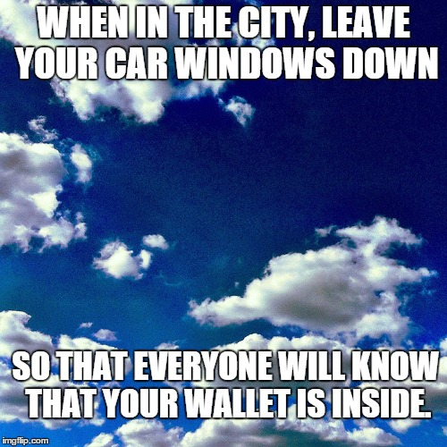 good advice | WHEN IN THE CITY, LEAVE YOUR CAR WINDOWS DOWN SO THAT EVERYONE WILL KNOW THAT YOUR WALLET IS INSIDE. | image tagged in great idea,genius,common sense | made w/ Imgflip meme maker