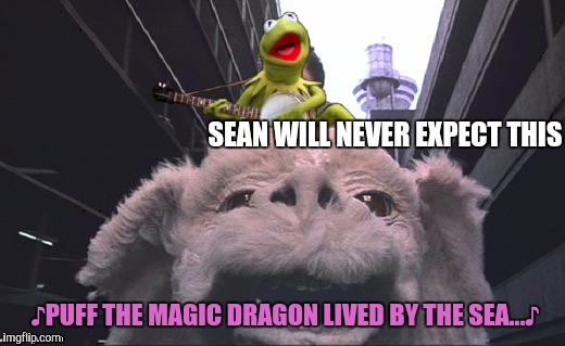 Aerial singing sky attack, via luckdragon from Fantastica. Your move, Connery. | SEAN WILL NEVER EXPECT THIS ♪PUFF THE MAGIC DRAGON LIVED BY THE SEA...♪ | image tagged in sean connery  kermit,never ending story,kermit the frog | made w/ Imgflip meme maker