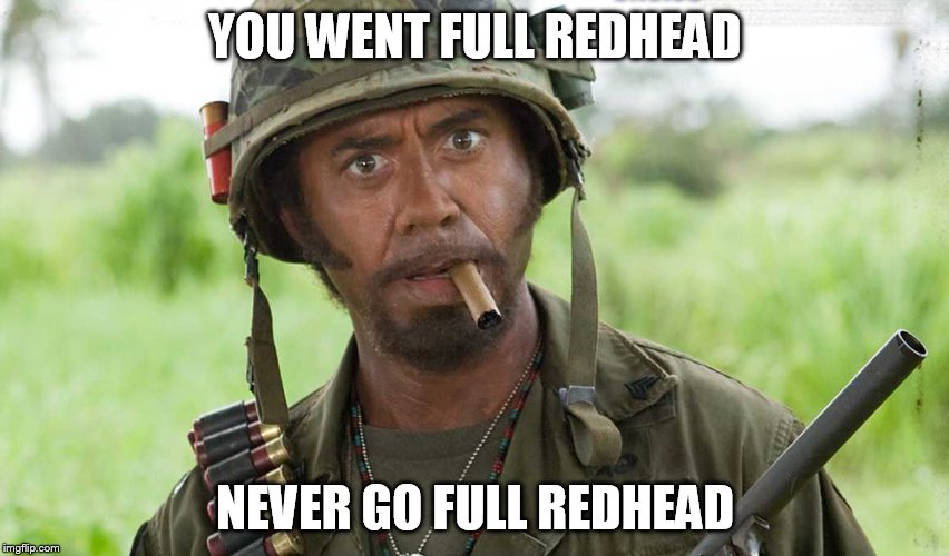 Marrying one is like touching that hot stove, you know it's going to burn but you just can't help yourself. | YOU WENT FULL REDHEAD NEVER GO FULL REDHEAD | image tagged in memes,funny,full retard tropic thunder | made w/ Imgflip meme maker