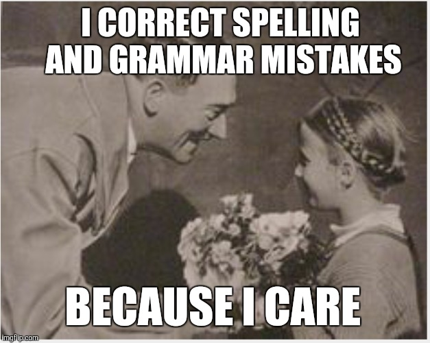 The caring grammar Nazi | I CORRECT SPELLING AND GRAMMAR MISTAKES BECAUSE I CARE | image tagged in grammar nazi | made w/ Imgflip meme maker