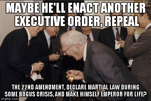 Laughing Men In Suits Meme | MAYBE HE'LL ENACT ANOTHER EXECUTIVE ORDER, REPEAL THE 22ND AMENDMENT, DECLARE MARTIAL LAW DURING SOME BOGUS CRISIS, AND MAKE HIMSELF EMPEROR | image tagged in memes,laughing men in suits | made w/ Imgflip meme maker