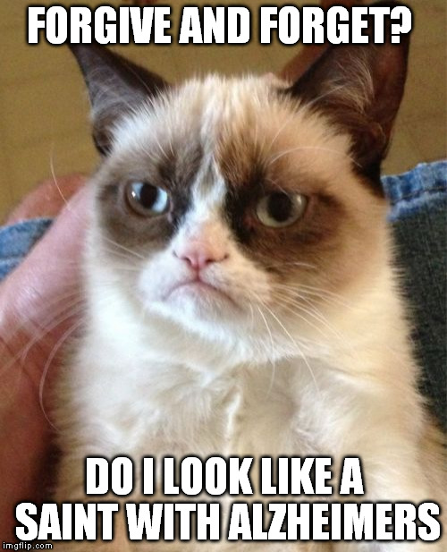 Grumpy Cat Meme | FORGIVE AND FORGET? DO I LOOK LIKE A SAINT WITH ALZHEIMERS | image tagged in memes,grumpy cat | made w/ Imgflip meme maker