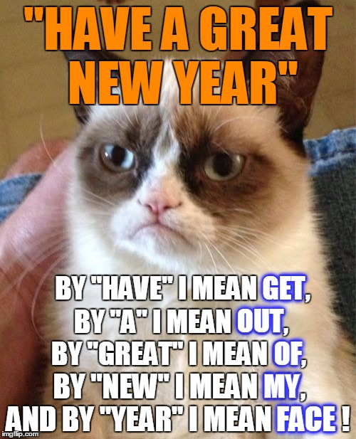 "Grumpy Cat: Lost in Translation, Mark II | ""HAVE A GREAT NEW YEAR"" AND BY ""YEAR"" I MEAN FACE ! BY ""NEW"" I MEAN MY, BY ""GREAT"" I MEAN OF, BY ""A"" I MEAN OUT, BY ""HAVE"" I MEAN GET, FACE  