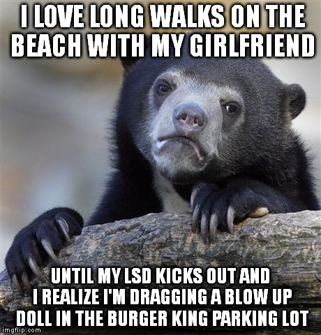 Confession Bear Meme | I LOVE LONG WALKS ON THE BEACH WITH MY GIRLFRIEND UNTIL MY LSD KICKS OUT AND I REALIZE I'M DRAGGING A BLOW UP DOLL IN THE BURGER KING PARKIN | image tagged in memes,confession bear | made w/ Imgflip meme maker