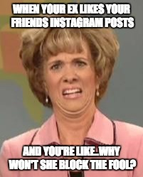 Confused Face Jane | WHEN YOUR EX LIKES YOUR FRIENDS INSTAGRAM POSTS AND YOU'RE LIKE..WHY WON'T SHE BLOCK THE FOOL? | image tagged in confused face jane | made w/ Imgflip meme maker