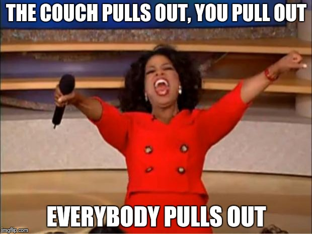 Oprah You Get A Meme | THE COUCH PULLS OUT, YOU PULL OUT EVERYBODY PULLS OUT | image tagged in memes,oprah you get a | made w/ Imgflip meme maker