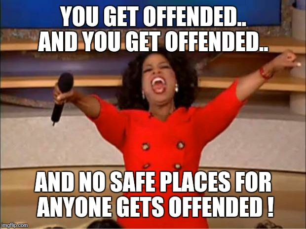 Oprah You Get A Meme | YOU GET OFFENDED.. AND YOU GET OFFENDED.. AND NO SAFE PLACES FOR ANYONE GETS OFFENDED ! | image tagged in memes,oprah you get a | made w/ Imgflip meme maker