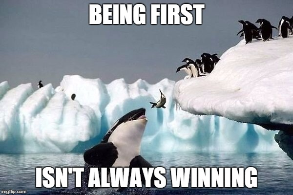 Killer whale | BEING FIRST ISN'T ALWAYS WINNING | image tagged in killer whale | made w/ Imgflip meme maker