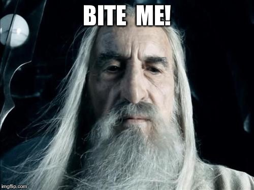 Sauron | BITE  ME! | image tagged in sauron | made w/ Imgflip meme maker
