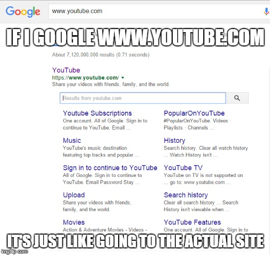 IF I GOOGLE WWW.YOUTUBE.COM IT'S JUST LIKE GOING TO THE ACTUAL SITE | made w/ Imgflip meme maker