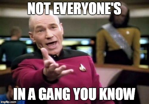 Picard Wtf Meme | NOT EVERYONE'S IN A GANG YOU KNOW | image tagged in memes,picard wtf | made w/ Imgflip meme maker
