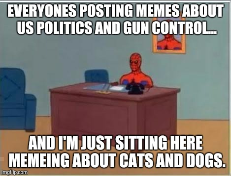 Spider man at his desk | EVERYONES POSTING MEMES ABOUT US POLITICS AND GUN CONTROL... AND I'M JUST SITTING HERE MEMEING ABOUT CATS AND DOGS. | image tagged in spider man at his desk | made w/ Imgflip meme maker