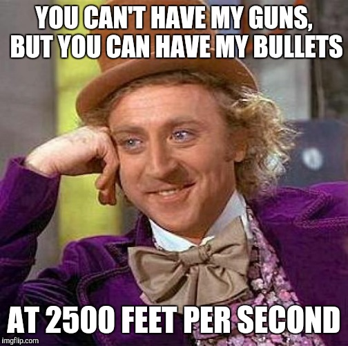 The Second Amendment Still Stands | YOU CAN'T HAVE MY GUNS, BUT YOU CAN HAVE MY BULLETS AT 2500 FEET PER SECOND | image tagged in memes,creepy condescending wonka | made w/ Imgflip meme maker