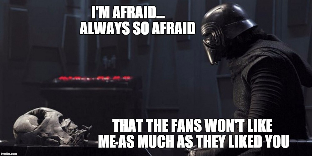 Did anyone else notice this when they were watching the movie? | I'M AFRAID...      ALWAYS SO AFRAID THAT THE FANS WON'T LIKE ME AS MUCH AS THEY LIKED YOU | image tagged in kylo ren and vader helmet,jj abrams,fear,darth vader,the force awakens | made w/ Imgflip meme maker