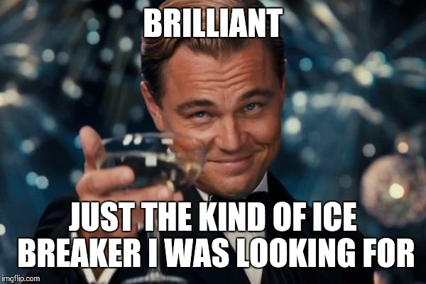 BRILLIANT JUST THE KIND OF ICE BREAKER I WAS LOOKING FOR | made w/ Imgflip meme maker