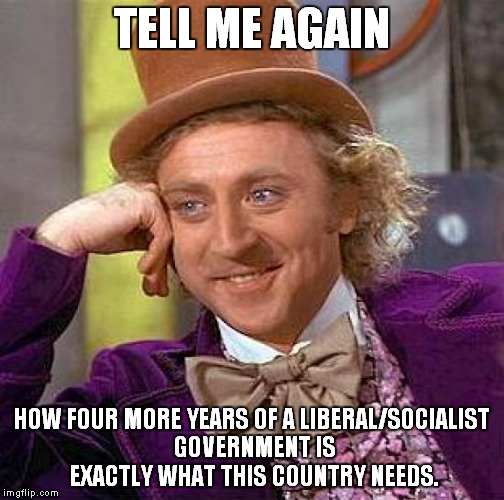 Creepy Condescending Wonka Meme | TELL ME AGAIN HOW FOUR MORE YEARS OF A LIBERAL/SOCIALIST GOVERNMENT IS EXACTLY WHAT THIS COUNTRY NEEDS. | image tagged in memes,creepy condescending wonka | made w/ Imgflip meme maker