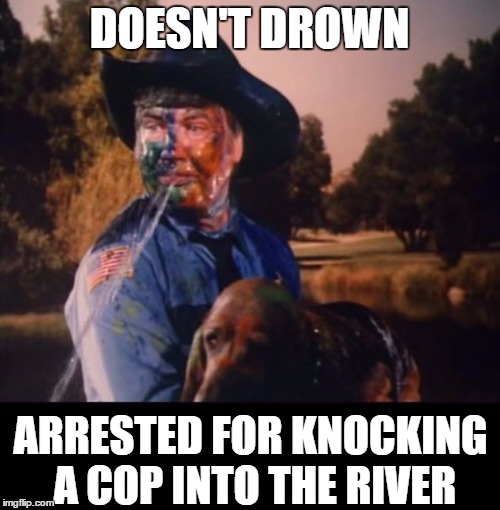Rosco and Flash | DOESN'T DROWN ARRESTED FOR KNOCKING A COP INTO THE RIVER | image tagged in rosco and flash | made w/ Imgflip meme maker
