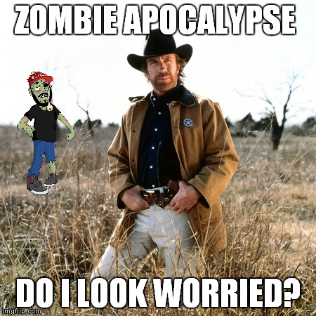 ZOMBIE APOCALYPSE DO I LOOK WORRIED? | made w/ Imgflip meme maker