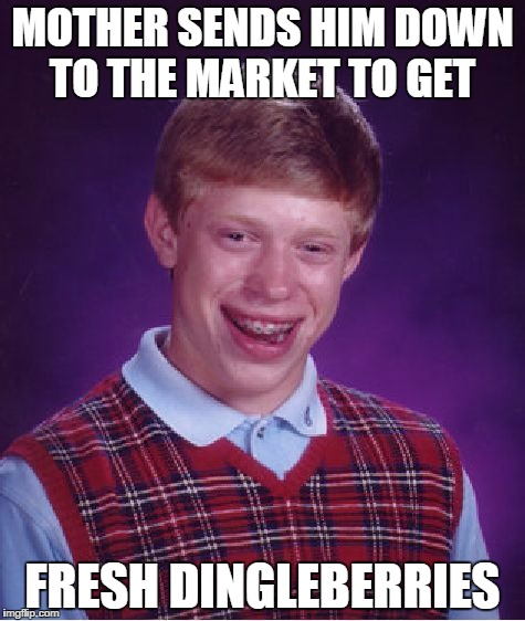 Bad Luck Brian Meme | MOTHER SENDS HIM DOWN TO THE MARKET TO GET FRESH DINGLEBERRIES | image tagged in memes,bad luck brian | made w/ Imgflip meme maker