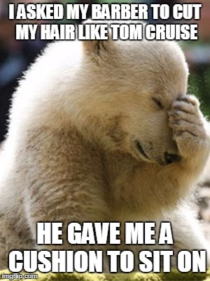 Facepalm Bear | I ASKED MY BARBER TO CUT MY HAIR LIKE TOM CRUISE HE GAVE ME A CUSHION TO SIT ON | image tagged in memes,facepalm bear | made w/ Imgflip meme maker