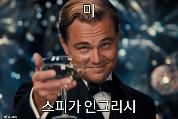 Leonardo Dicaprio Cheers Meme | 미 스피가 인그리시 | image tagged in memes,leonardo dicaprio cheers | made w/ Imgflip meme maker