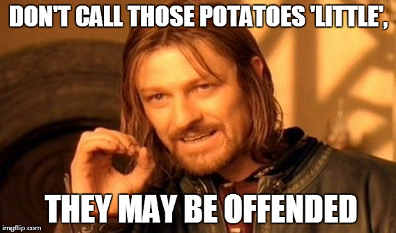 One Does Not Simply Meme | DON'T CALL THOSE POTATOES 'LITTLE', THEY MAY BE OFFENDED | image tagged in memes,one does not simply | made w/ Imgflip meme maker