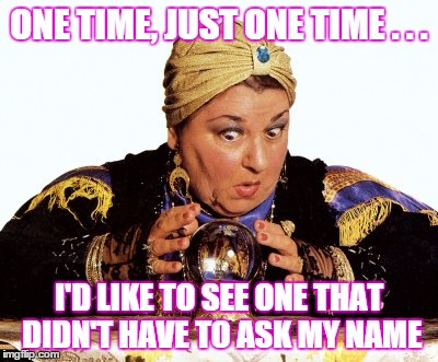 Psychic person  | ONE TIME, JUST ONE TIME . . . I'D LIKE TO SEE ONE THAT DIDN'T HAVE TO ASK MY NAME | image tagged in psychic with crystal ball,psychic,name | made w/ Imgflip meme maker